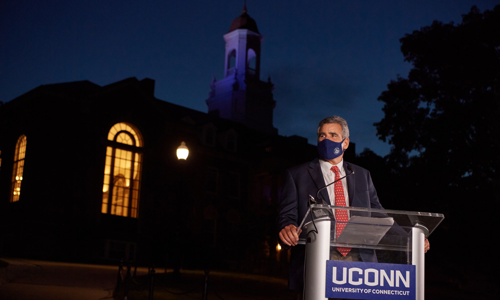 UConn President Tom Katsouleas at the fall 2020 convocation